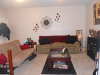 Living room in the larger one bedroom apt